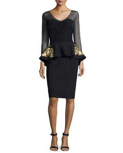 TAD85 La Petite Robe di Chiara Boni 3/4-Sleeve Embroidered Peplum Dress, Black