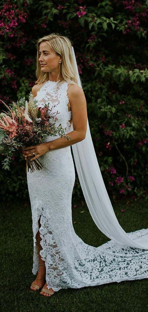 Cheap White Lace Long Wedding Dresses For Bride Vintage Mermaid Spring Wed Backless Mermaid Wedding Dresses White Lace Wedding Dress Mermaid Wedding Dresses Uk