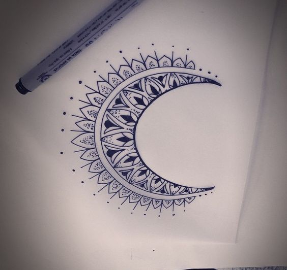 Crest moon mandala tattoo