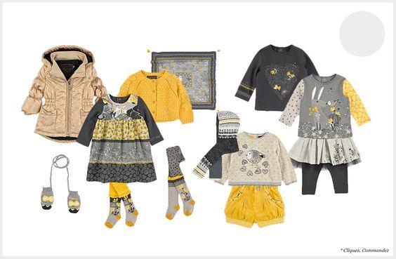 Moufles gris chiné en coton et viscose, doublure polaire Catimini pour bébé | Melijoe.com