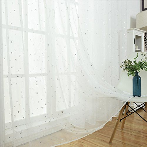 Wubodti Kid Room Window Sheer White Curtain Panel Rod Poc Https