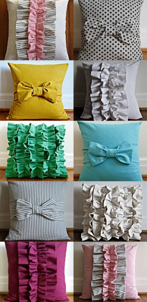 Cute Pillows  here is a tutorial for the bow tie pillows  http://www.e-tells-tales.com/2011/03/tutorial-bow-pillow-cover-win-pillow.html