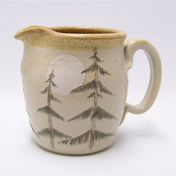 Pine Tree and Moon Pottery Pitcher