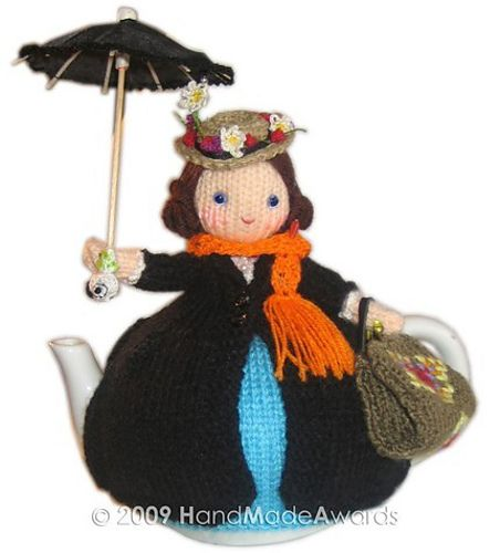 I want to make a cosy for my teapot and stumbled across this cute one while searching for a pattern. Not what I'm looking for but this is so cute. Mary Poppins crochet teapot cosy.: