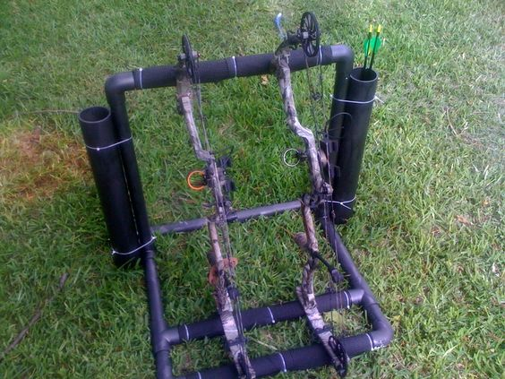 Outdoor bow and arrow holder made out of pvc hunting for Bow made out of pvc pipe