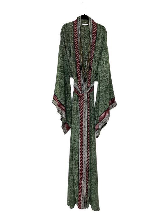 Maxi full length silk kimono jacket / beach cover up / by Bibiluxe