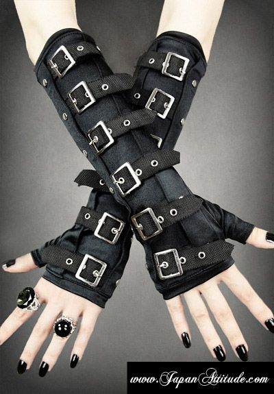 Mitaines gothique avec lannieres noires > JAPAN ATTITUDE - ACCMIT109   Shop : www.japanattitude.fr