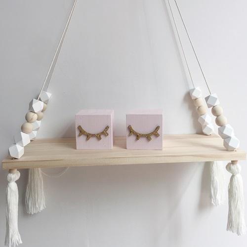 Baby Kids Bedroom Decor Wall Hanging Wooden Shelf Rope Swing Shelves Storage