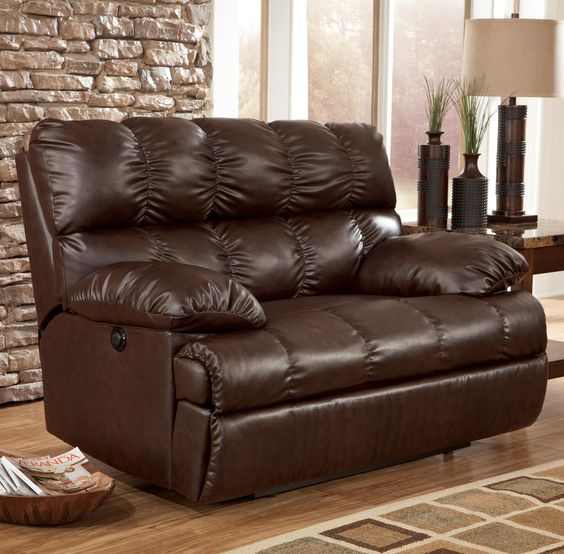 Rashane DuraBlend - Saddle Zero Wall Power Wide Seat Recliner by