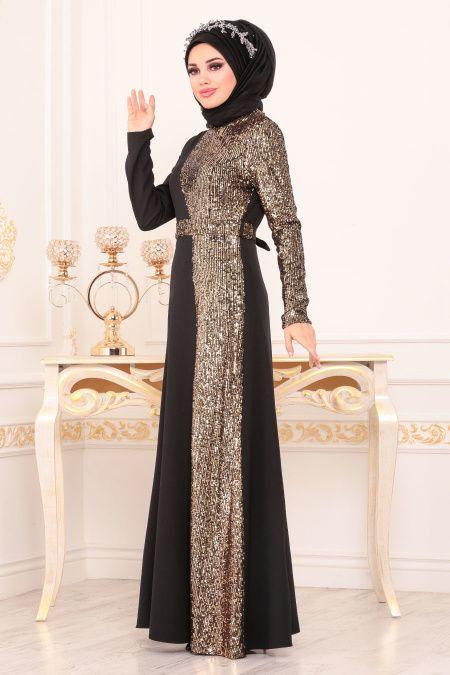 Tesetturlu Abiye Elbiseler Tesetturlu Abiye Elbise Pul Payetli Gold Tesettur Abiye Elbise 8611gold Pakaian Wanita Wanita Baju Muslim