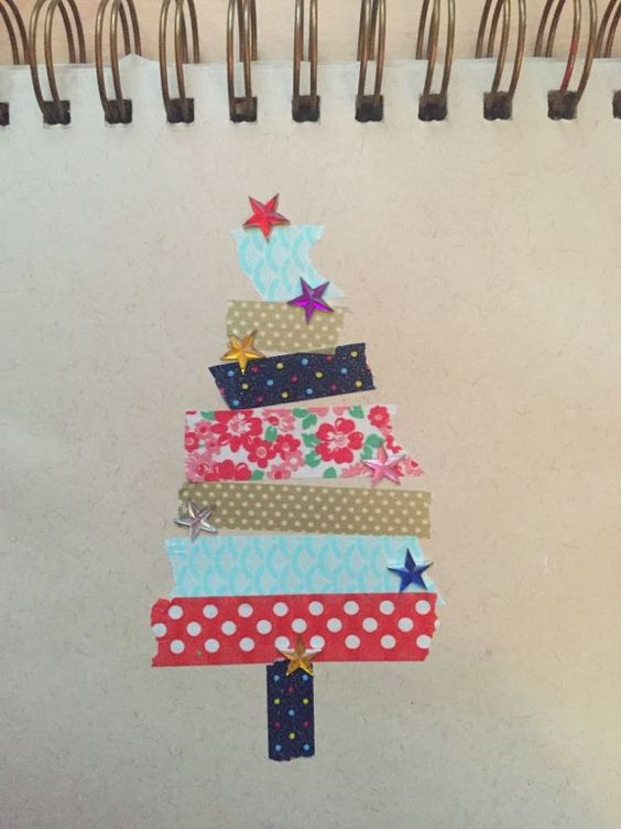 Simple Christmas tree, torn washi tape on brown paper. Part of a blog post on tree experiments!