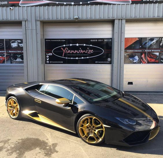 loving this look lambo huracan wrapped in metallic black with gold parts and wheels. Black Bedroom Furniture Sets. Home Design Ideas