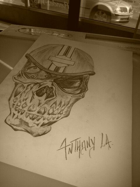 #biker#harleydavidson#skull#tattoo#tatouages#ink#pencil#blackandgrey