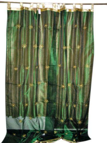 Curtains Ideas 92 curtain panels : 2 hunter green embroidered sari drapes organza sheer india ...