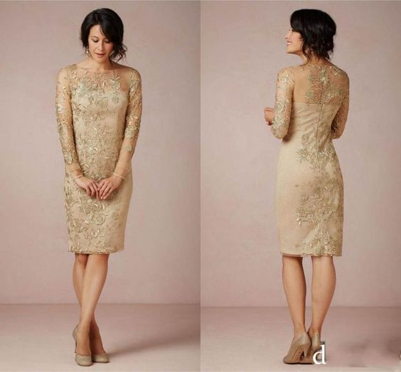 Gold dress knee length and tea