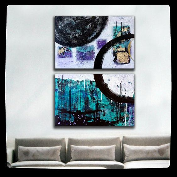 Extra large wall art - Diptych Original Large Abstract Painting - geometric art - Blue Abstract art on canvas - 36x48canvas