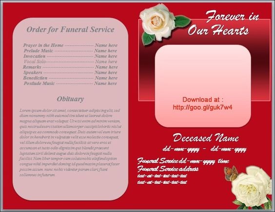 Red background white roses and funeral on pinterest for Free downloadable obituary templates