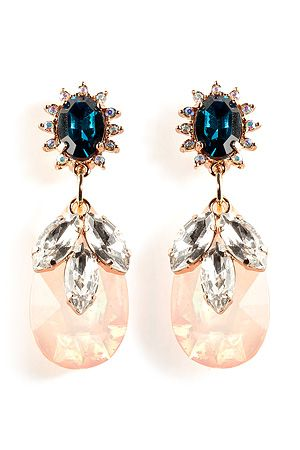 MAWI - Rose Gold-Plated Daisy Gemstone Earrings and Teardrop in Pink