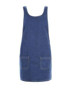 Blue Denim Double Pocket Pinafore Dress    New Look