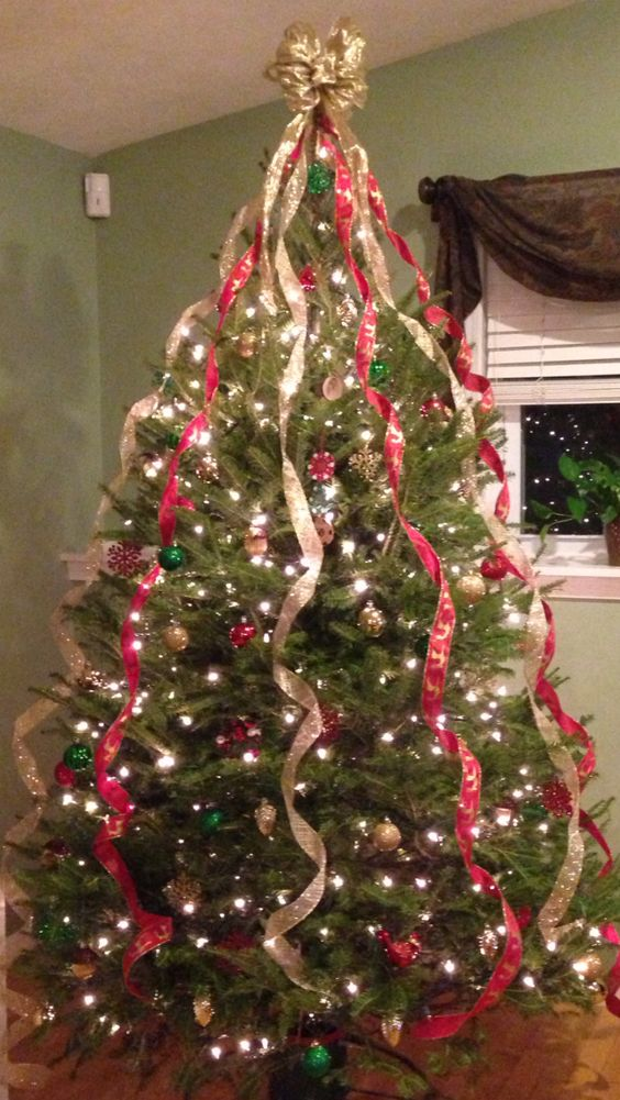 Ribbons On Christmas Tree Christmas Ideas Pinterest