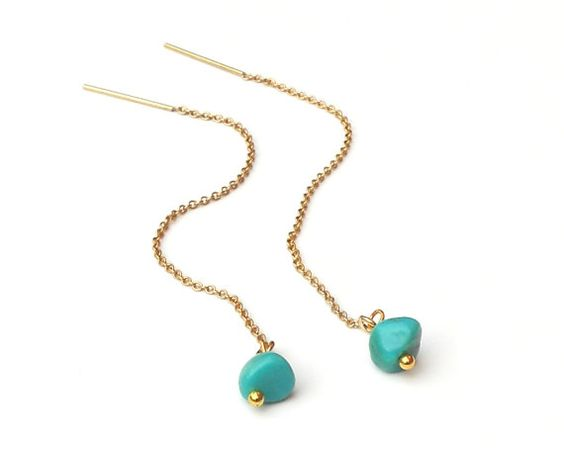 Turquoise Threader Earrings Gold Ear Threads by BabelfishJewelry