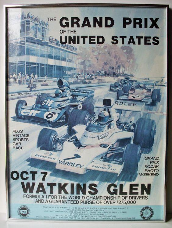 Original 1973 Watkins Glen Poster F1 United States Grand Prix Poster by PoorLittleRobin, $60.00