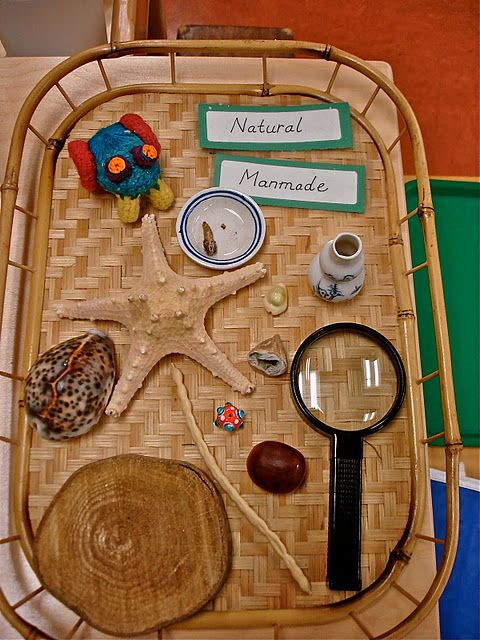 Montessori classification: natural and man-made objects with magnifying glass and labels.
