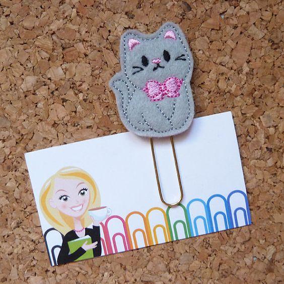 Felt Gray Kitty Paper Clip | Bookmark | Planner Clip | Refrigerator Magnet | Cute Brooch Pin |Organizer | Calendar | Planner Accessory | 340