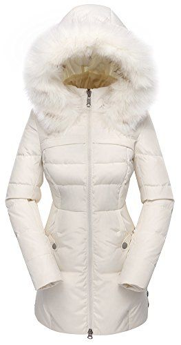 Valuker Women's Down Coat with Hood 90% Down Parka Fur Winter