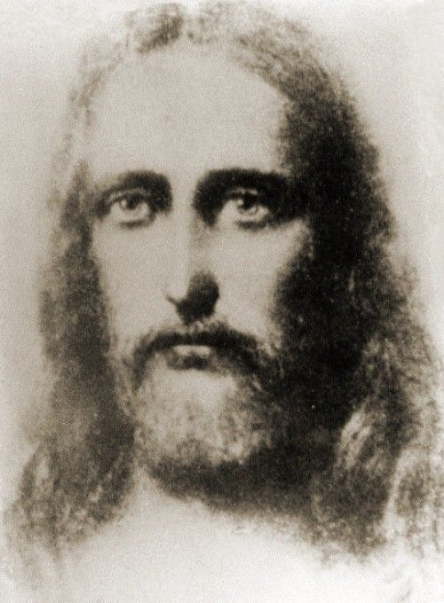 This picture of the face of Jesus of Nazareth appeared miraculously when photographs were taken of the return of a chalice to the tabernacle of a Spanish church which had been pillaged during the Spanish civil war (1936-39).