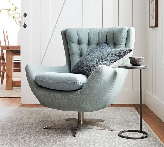 Wells Tufted Upholstered Swivel Armchair In 2020 Swivel Chair Living Room Living Room Chairs Swivel Armchair