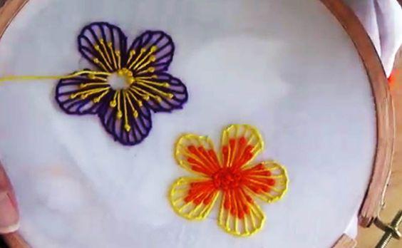 Embroidery, Hand embroidery, Flower embroidery, caston stitch, padded satin stitch, satin stitch, lazy daisy stitch, stem stitch, french knot, pollin stitch