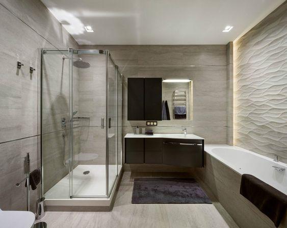 modernes badezimmer - 3d wandpaneele und indirekte beleuchtung
