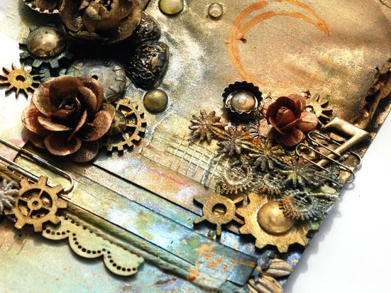 Close up of Steampunk Love #1  Steampunk Love - Retrospection, Dabrowska A. (Finnabair) 2013, Collage, viewed 12th August 2015, <http://tworzysko.blogspot.com.au/2013_04_01_archive.html>