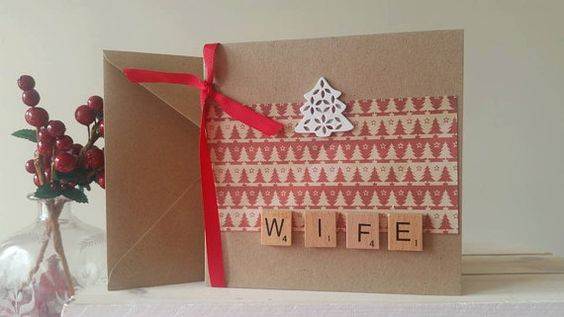 Happy Christmas Wife Card  Christmas Card by TheHandmaidensTale