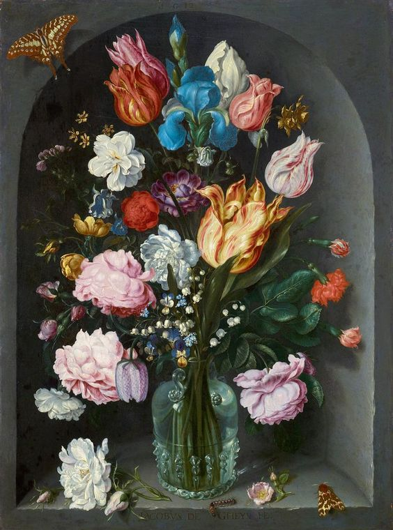 "Jacob de Gheyn II, also Jacques de Gheyn II (c.1565-1629) —  Flowers in a Glass Flask, 1612 : The Royal Picture Gallery Mauritshuis -""Maurice House"", houses the Royal Cabinet of Paintings.The Hague, Netherlands (736×992)"