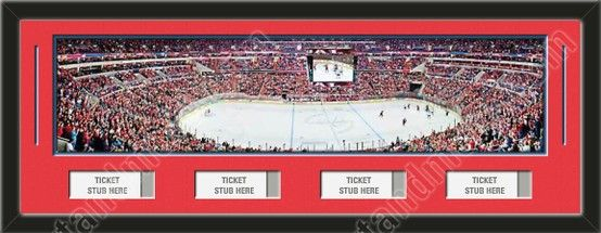 One framed large Washington Capitals stadium panoramic with openings for 1, 2, 3, or 4 ticket stubs*, double matted in team colors to 39 x 13.5 inches.  The lines show the bottom mat color. $189.99      @ ArtandMore.com