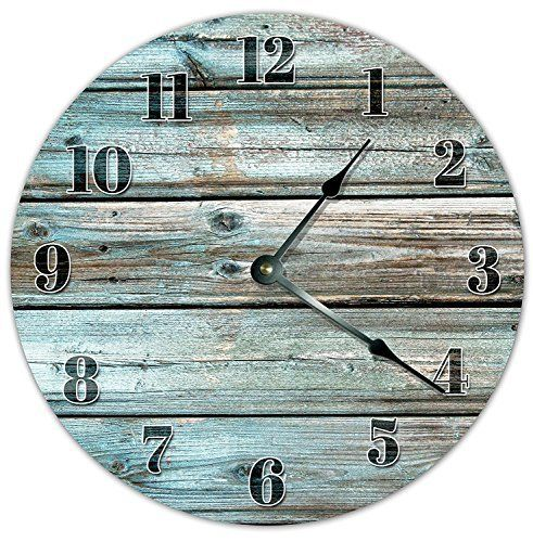 Olivelewis 12 Vintage Teal Wood Boards Design Clock Wooden Decorative Round Wall Clock Wall Clock Living Room Clocks Rustic Wall Clocks