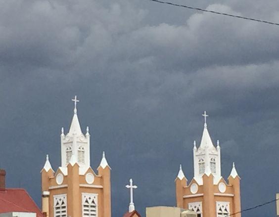 Dark sky's over church in Old Town Albuquerque