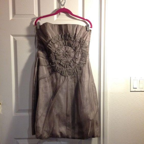 Beautiful Zara dress One of my favorite dresses! Zara 100% silk dress. Color is hard to describe but it's like grayish purpleish brownish! Worn twice- my friends wedding and my graduation. Size L... Simply beautiful, well taken care of! Zara Dresses