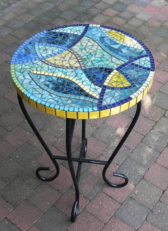 Stained Glass Mosaic Coffee Table Side Table Plant Stand Small Stylish Blue And Yellow On