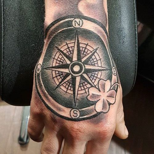 125 Best Compass Tattoos For Men Cool Designs Ideas 2020 Guide Compass Tattoo Compass Tattoo Men Hand Tattoos