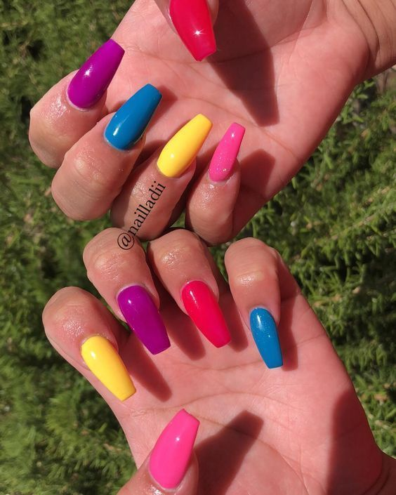 Glitter Coffin Nails Short Medium And Long Coffin Acrylic Nails
