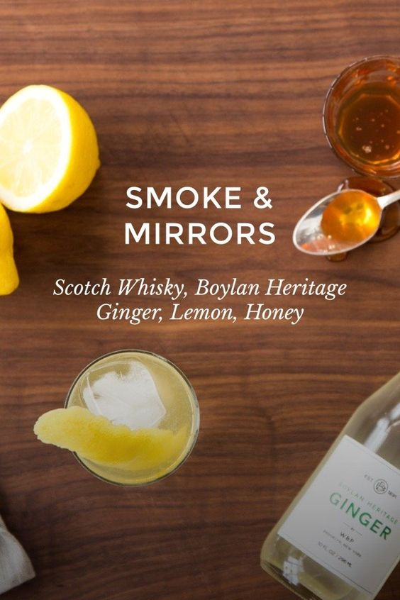 SMOKE & MIRRORS Scotch Whisky, Boylan Heritage Ginger, Lemon, Honey The Penicillin cocktail is made with a combo of scotch whisky, honey, ginger and lemon juice. We brighten it up in The Smoke & Mirrors by using ginger beer in place of regular ginger. by @masonshaker