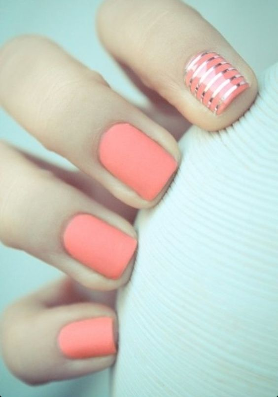 matte coral manicure. #nails #beauty #zappos