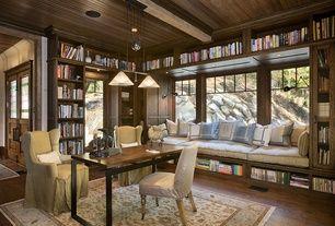 Craftsman Library with Standard height, bedroom reading light, Engineered hardwood flooring, Crown molding, Hardwood floors