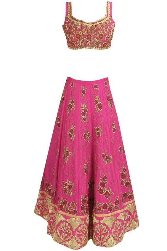 Pink and gold floral zardozi and dori embroidered lehenga set available only at Pernia's Pop Up Shop.