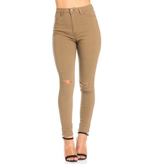 Super high waisted khaki jeans