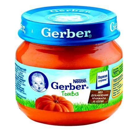 ПЮРЕ GERBER (ГЕРБЕР) ТЫКВА, 80 Г  — 48р. ----------------------- Однокомпонентные овощные пюре Gerber® оптимальны в качестве первого прикорма как для здоровых детей, так и для тех малышей, которые имеют индивидуальные особенности развития (склонность к аллергии, избыточный вес, умеренные отклонения в функционировании пищеварительной системы). Фруктовое пюре богато клетчаткой, органическими кислотами, витаминами и минеральными веществами. Благодаря тому, что консистенция пюре очень нежная…
