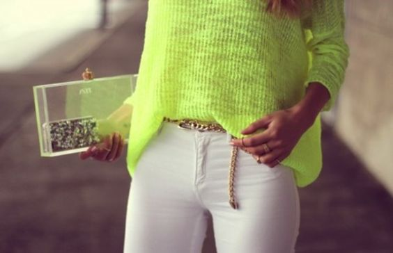 bag purse see through fluo yellow sweater Belt neon green blouse neon yellow neon blouse gold belt clutch trasparent clutch pants white pants style